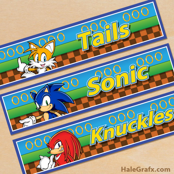 Free Printable Sonic the Hedgehog Water Bottle Labels