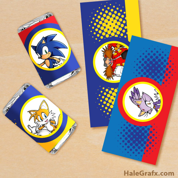 picture about Printable Candy Wrappers titled Cost-free Printable Sonic the Hedgehog Mini Sweet Bar Wrappers