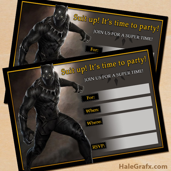 photograph about Free Printable Super Hero Invitations known as Cost-free Printable Question Black Panther Celebration Invitation