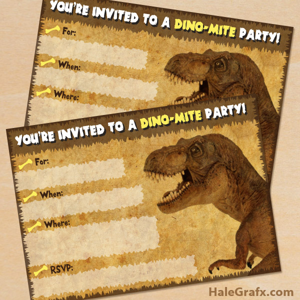 FREE Printable Dinosaur T Rex Party Invitation