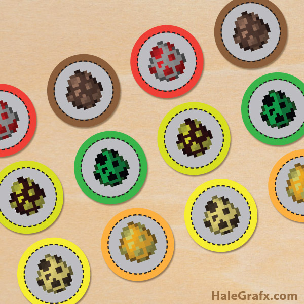 FREE Printable Minecraft Easter Cupcake Toppers