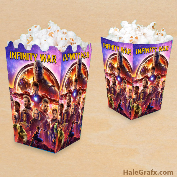 photo about Printable Popcorn Boxes called Totally free Printable Avengers Infinity War Popcorn Box