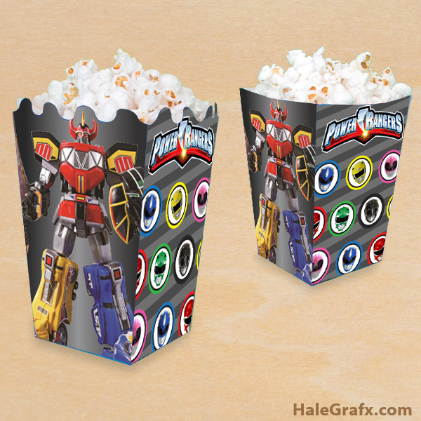 FREE Printable Mighty Morphin Power Rangers Popcorn Box