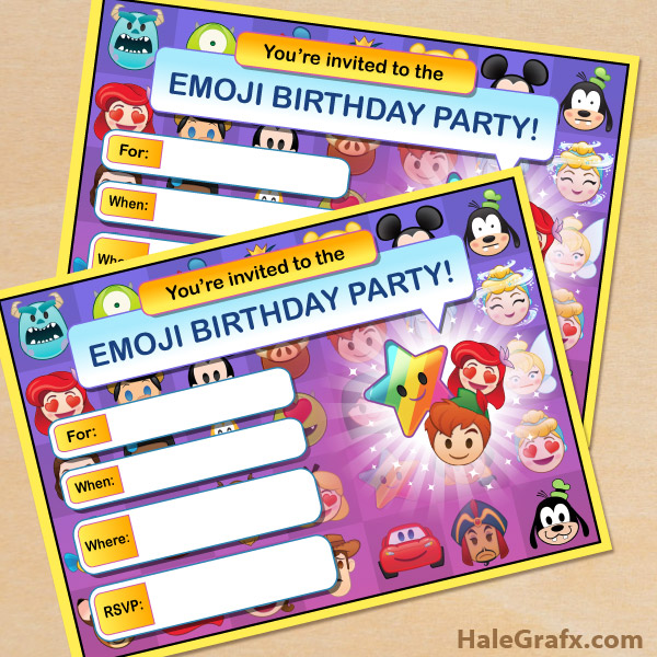 FREE Printable Disney Emoji Blitz Party Invitation