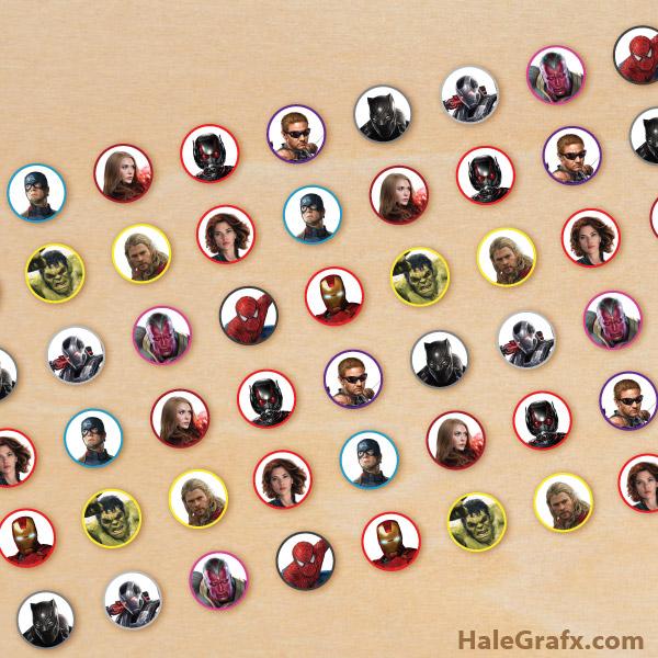 FREE Printable Avengers Hershey's Kisses Stickers
