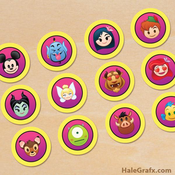 FREE Printable Disney Emoji Blitz Cupcake Toppers