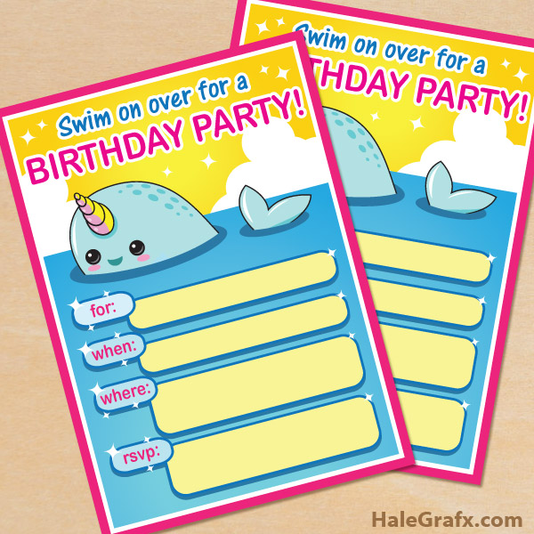 FREE Printable Narwhal Party Invitation