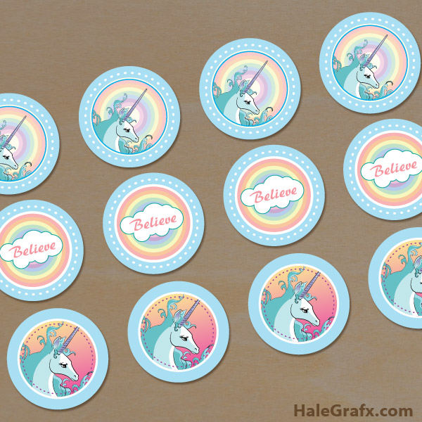 FREE Printable Unicorn Cupcake Toppers