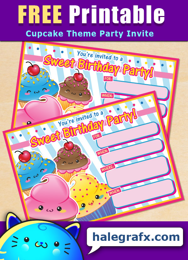 FREE Printable Cupcake Theme Birthday Invitation