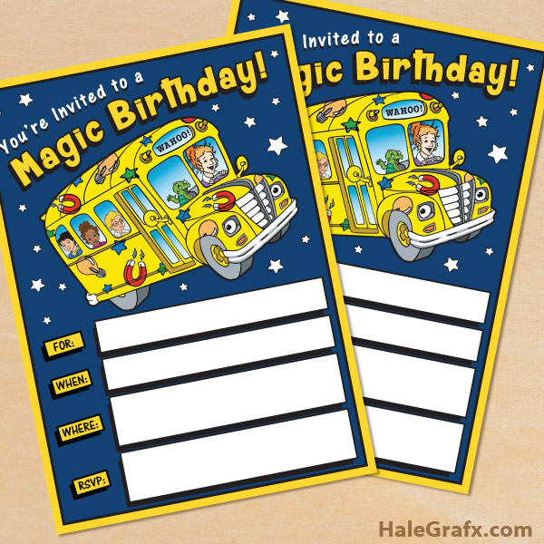 FREE Printable Magic School Bus Birthday Invitation