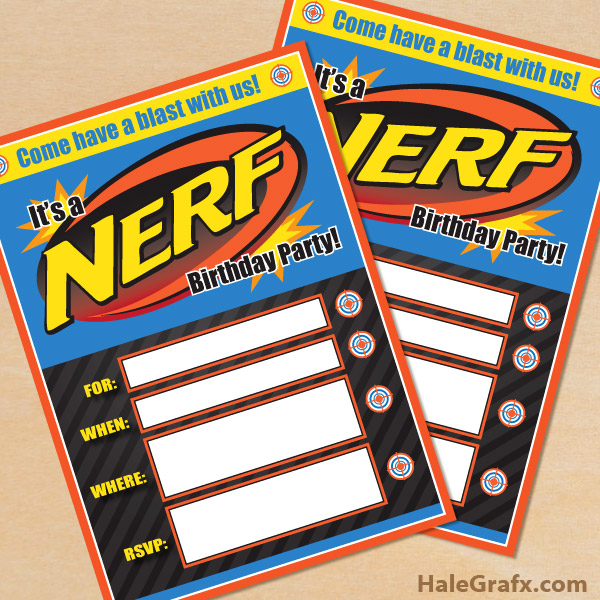 picture relating to Nerf Logo Printable known as Absolutely free Printable Nerf Birthday Invitation