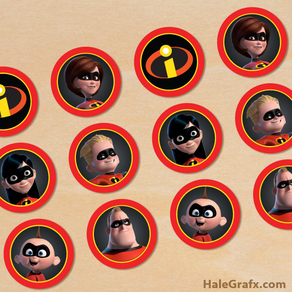 image regarding Incredibles Logo Printable identified as No cost Printable Incredibles Cupcake Toppers