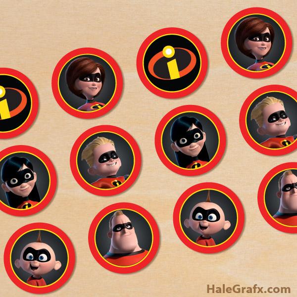 FREE Printable Incredibles Cupcake Toppers