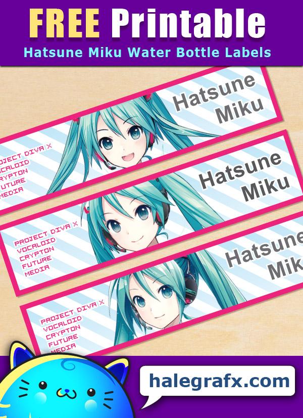 Free Printable Hatsune Miku Water Bottle Labels