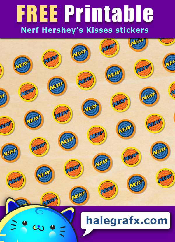 FREE Printable Nerf Hershey's Kisses Stickers
