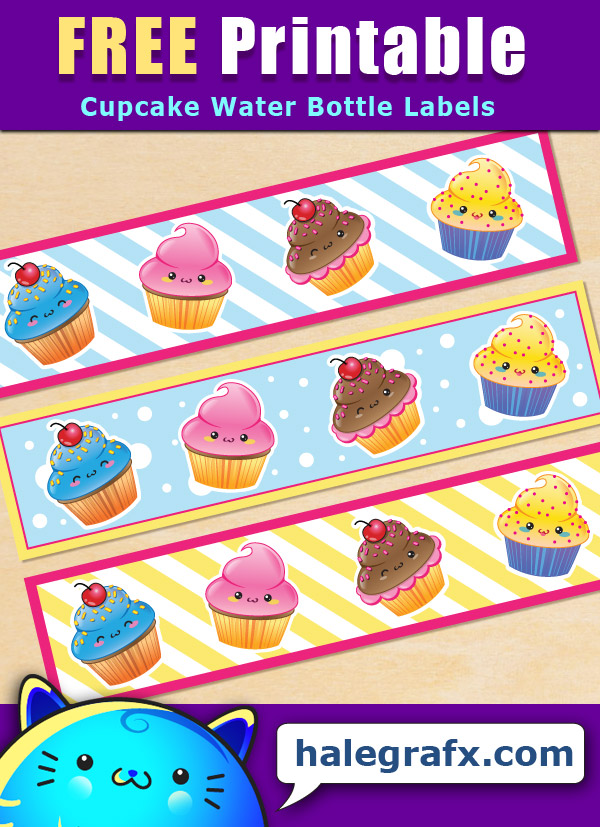 Free Printable Cupcake Themed Water Bottle Labels