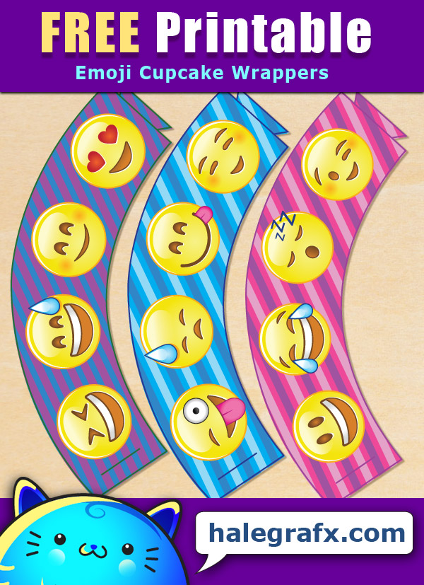 FREE Printable Emoji Cupcake Wrappers