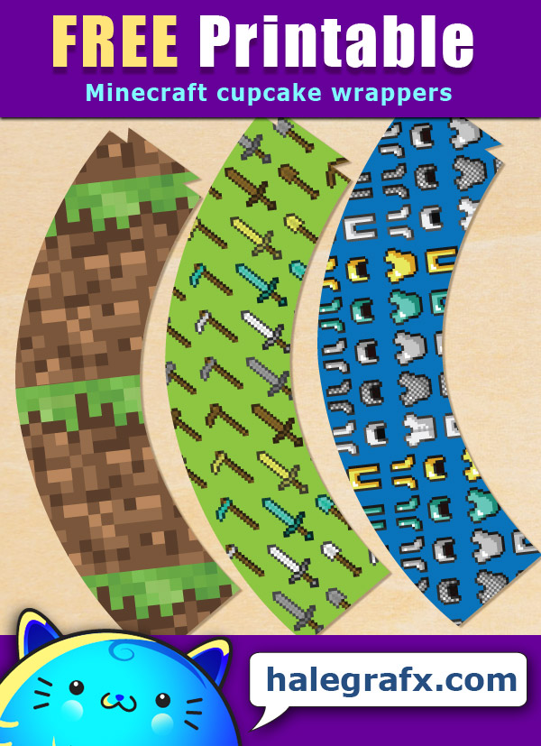 FREE Printable Minecraft Cupcake Wrappers
