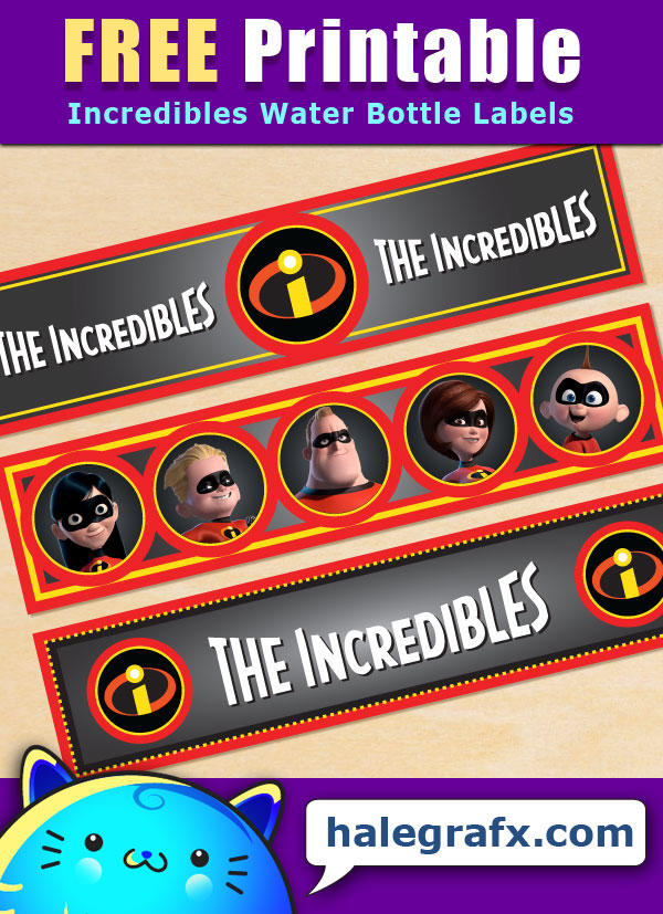 Free Printable Incredibles Water Bottle Labels
