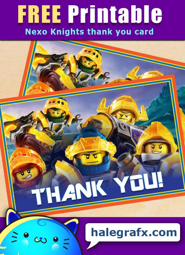 FREE Printable LEGO Nexo Knights Thank You Card