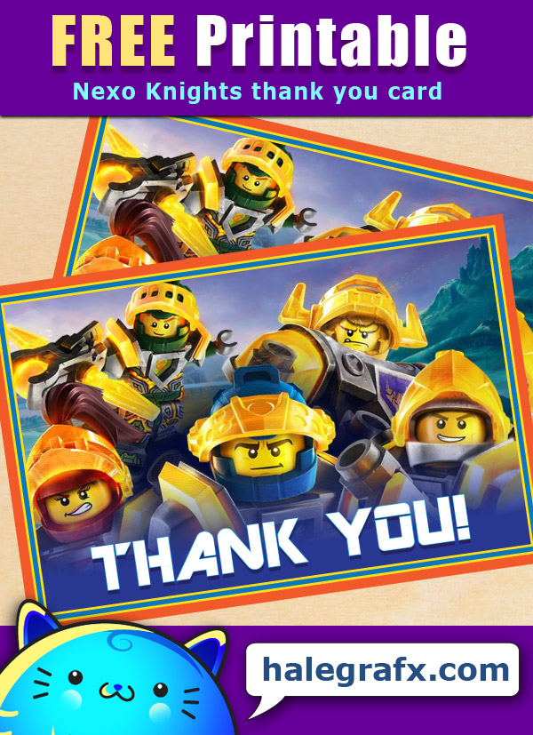 FREE Printable LEGO Nexo Knights Thank You Card