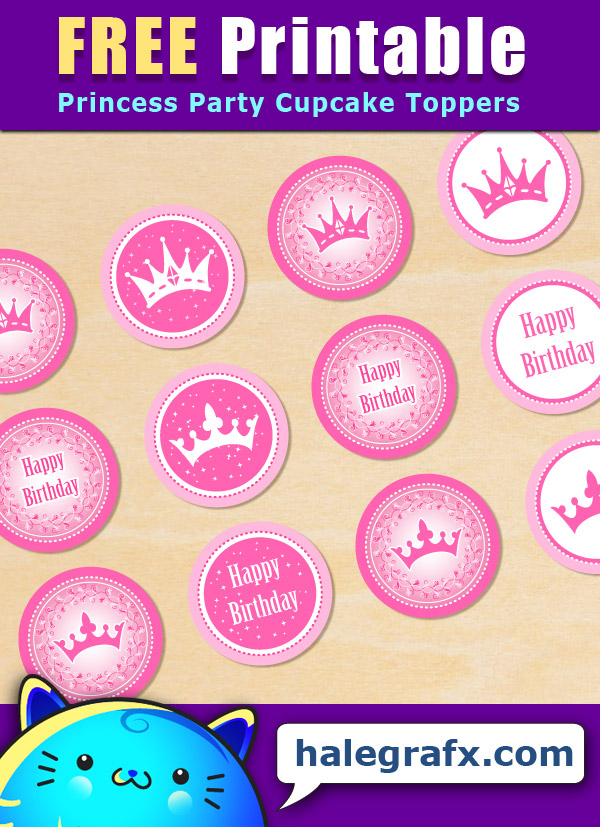 FREE Printable Princess Party Cupcake Toppers
