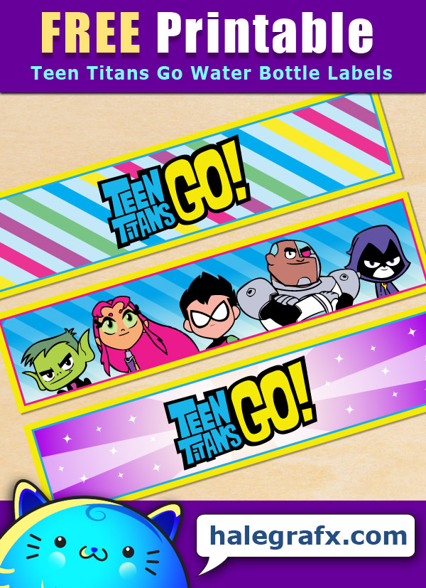 Free Printable Teen Titans Go! Water Bottle Labels