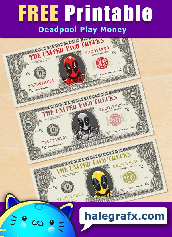 FREE Printable Deadpool Play Money