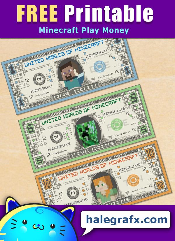 FREE Printable Minecraft Play Money