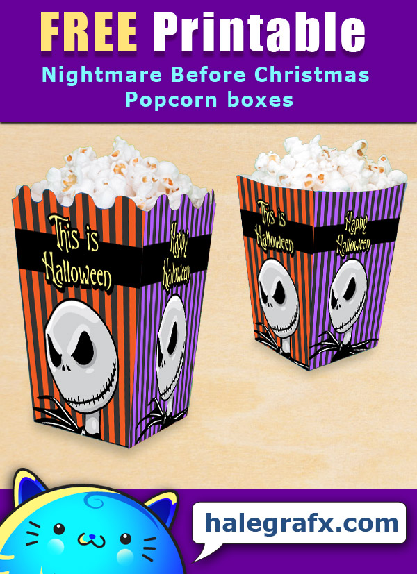 picture regarding Nightmare Before Christmas Printable identified as Absolutely free Printable Nightmare right before Xmas Popcorn Box