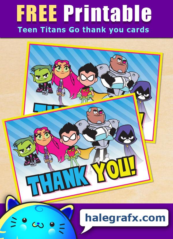 FREE Printable Teen Titans Go! Thank You Card