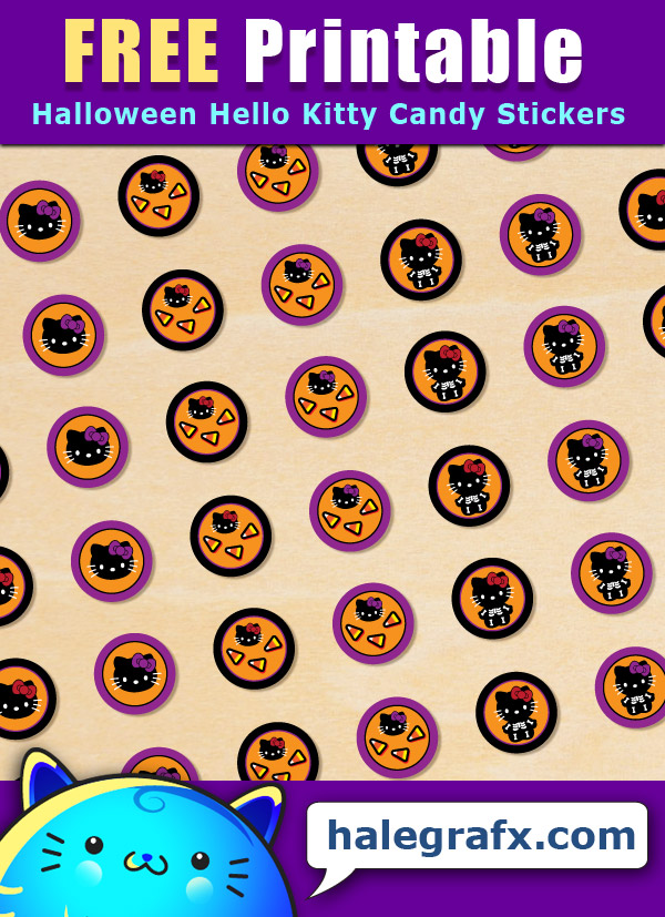 FREE Printable Halloween Hello Kitty Hershey's Kisses Stickers