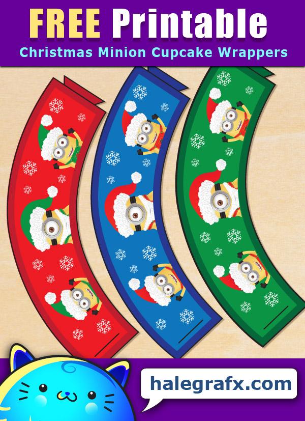 FREE Printable Christmas Minion Cupcake Wrappers