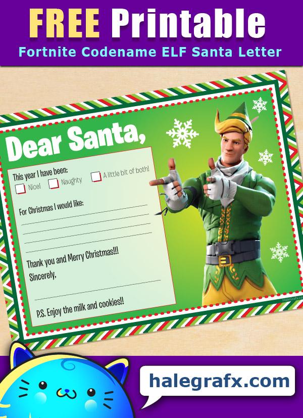 FREE Printable Fortnite Codename Elf Santa letter