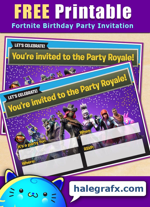 FREE Printable Fortnite Birthday Invitation