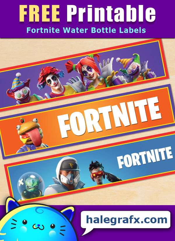 graphic relating to Fortnite Printable named Absolutely free Printable Fortnite Themed Drinking water Bottle Labels