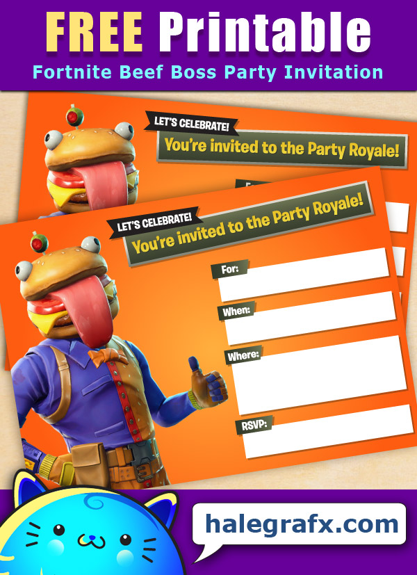 FREE Printable Fortnite Beef Boss Party Invitation