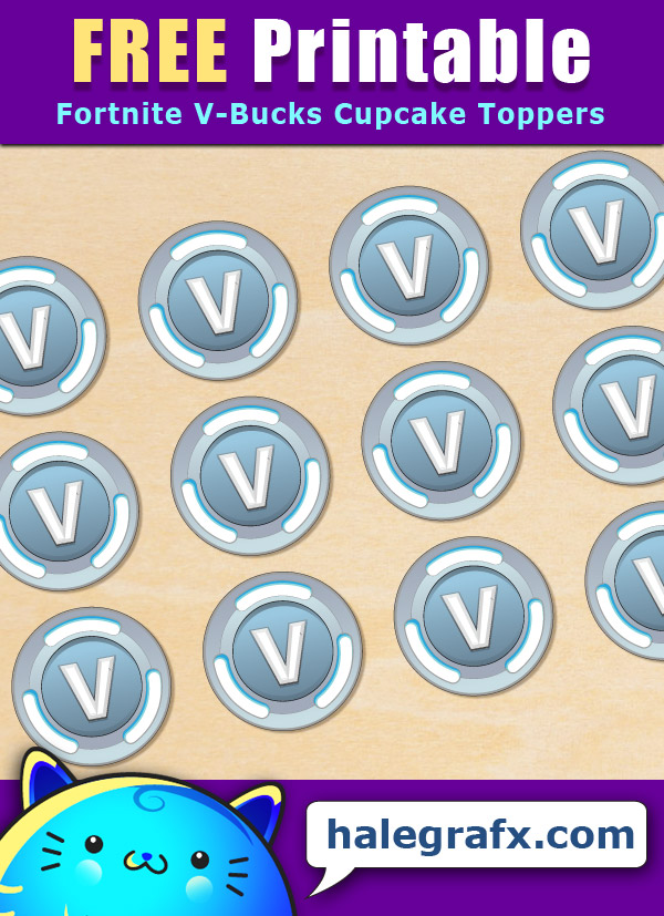 photo about Fortnite Printable Images named No cost Printable Fortnite V-Pounds Cupcake Toppers