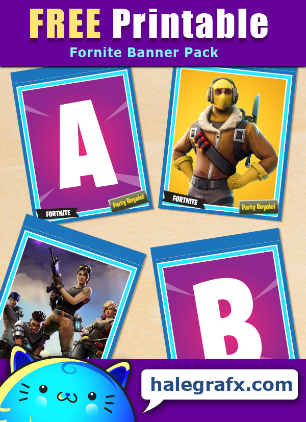 image regarding Fortnite Printable Images titled Free of charge Printable Fortnite Alphabet Banner Pack