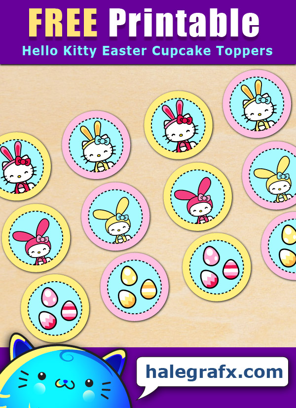 FREE Printable Hello Kitty Easter Cupcake Toppers
