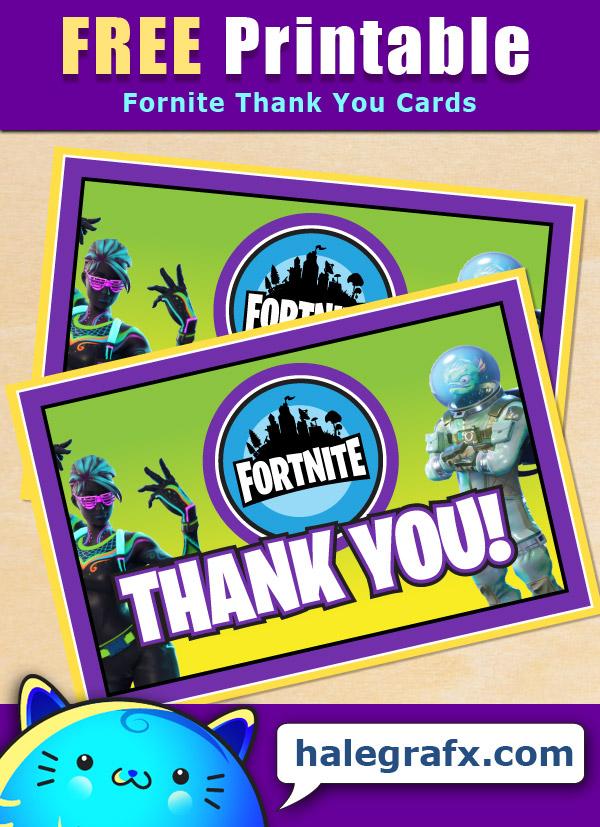 free printable fortnite thank you card
