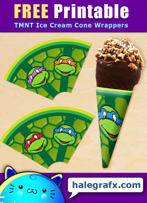 FREE Printable TMNT Ice Cream Cone Wrappers