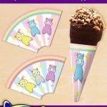 FREE Printable Alpaca Ice Cream Cone Wrappers