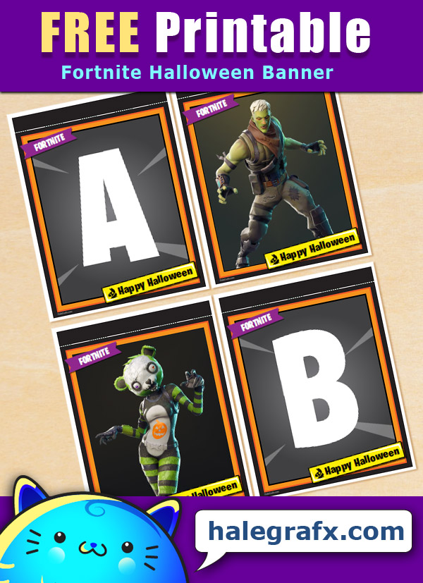 FREE Printable Fortnite Halloween Banner Pack