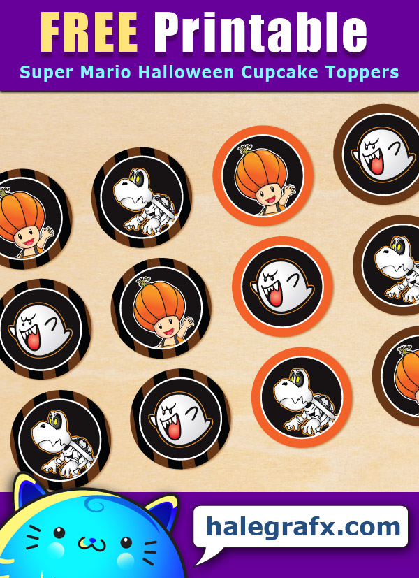FREE Printable Halloween Super Mario Cupcake Toppers