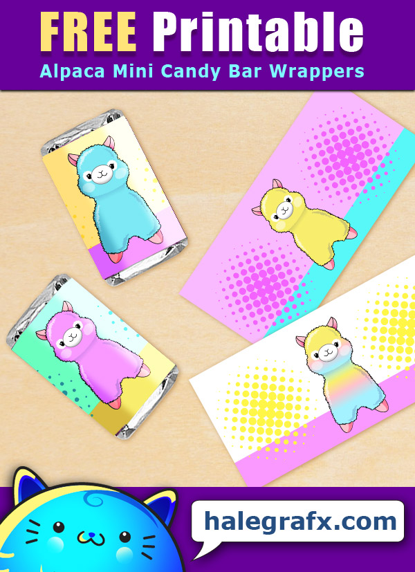 FREE Printable Alpaca Mini Candy Bar Wrappers