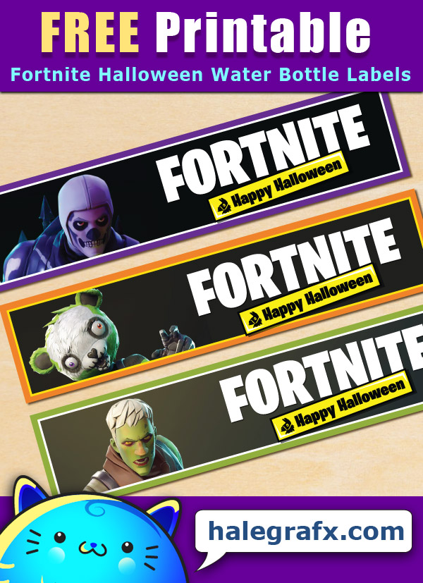 Free Printable Fortnite Halloween Water Bottle Labels