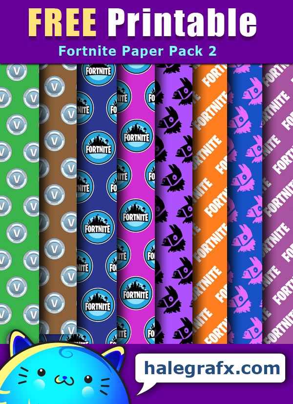 FREE Printable Fortnite Digital Paper Pack 2