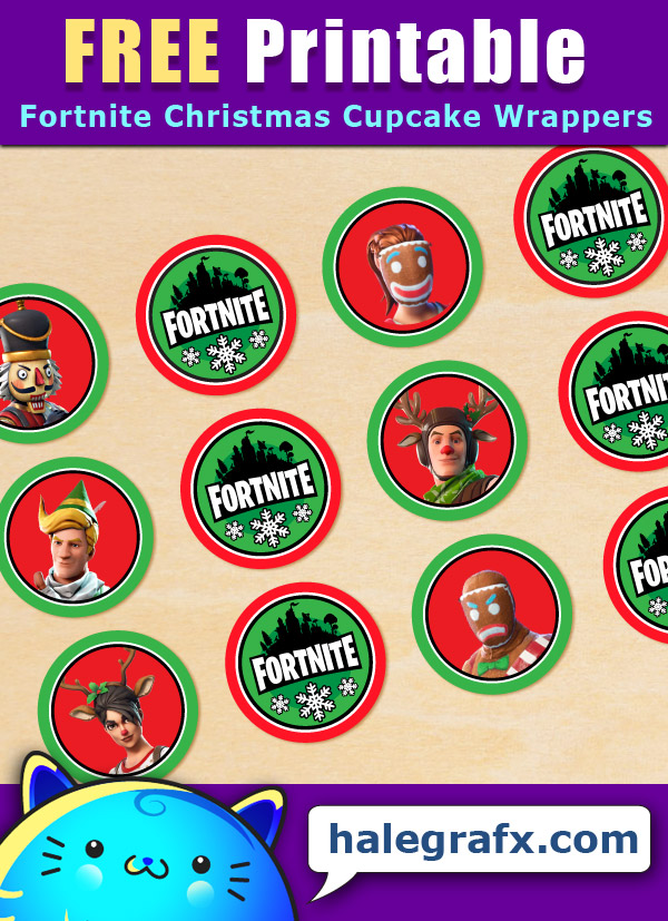 FREE Printable Fortnite Christmas Cupcake Toppers