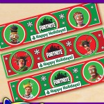 Free Printable Fortnite Christmas Water Bottle Labels